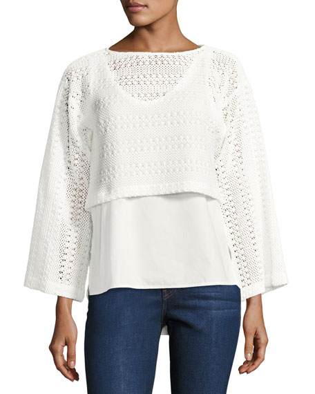 Derek Lam 10 Crosby 2-in-1 Crochet Top W/