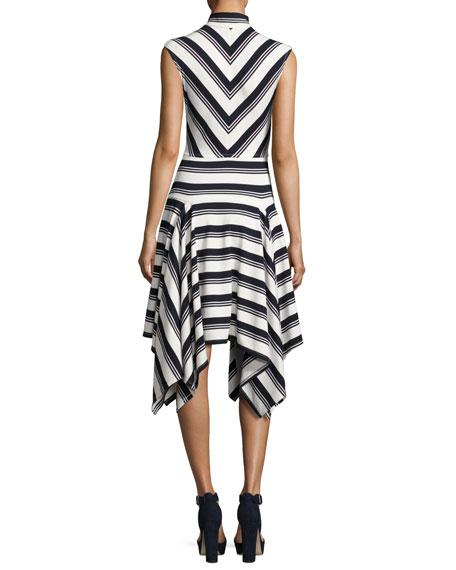 Sleeveless Mitered Stripe Stretch Jersey Dress, Navy/White