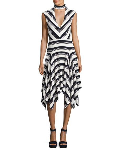 Derek Lam 10 Crosby Sleeveless Mitered Stripe Stretch