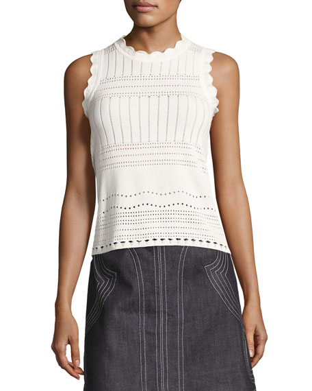 Derek Lam 10 Crosby Sleeveless Pointelle Crewneck Sweater,