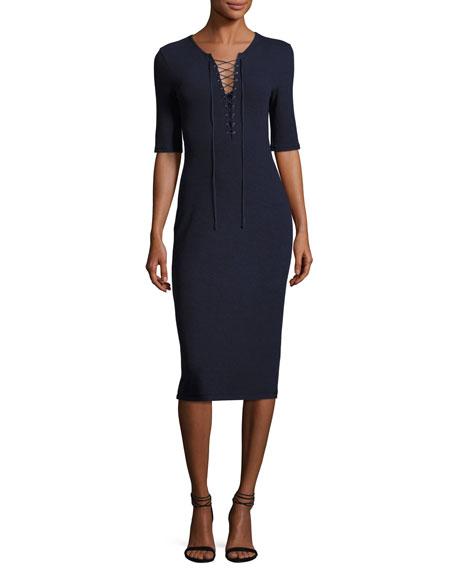 Laced Ponte Midi Dress, Navy