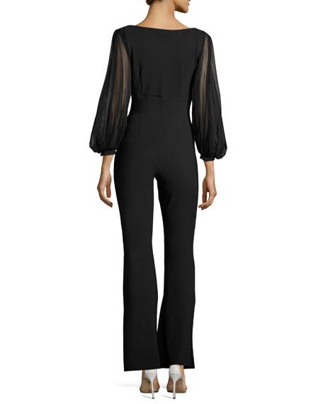Daul Sheer-Sleeve Flare-Leg Jersey Jumpsuit, Black