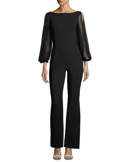 Chiara Boni La Petite Robe Daul Sheer-Sleeve Flare-Leg