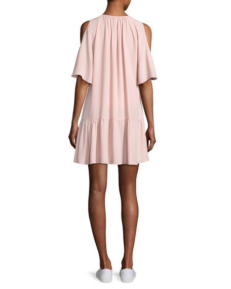 Ora Cold-Shoulder Drop-Waist Dress, Light Pink