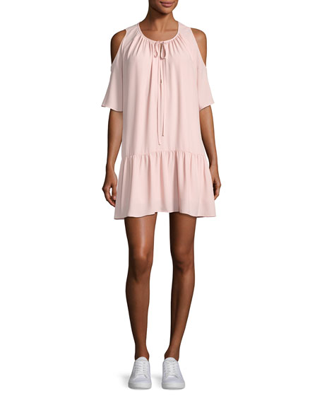 Amanda Uprichard Ora Cold-Shoulder Drop-Waist Dress, Light Pink