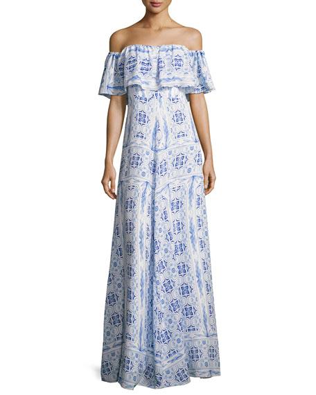 Amanda Uprichard Delilah Off-the-Shoulder Printed Dress, Blue