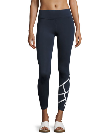 Heroine Sport Flex Full-Length Performance Leggings, Blue/White