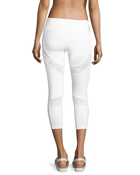 Charm Lace-Inset Capri Sport Leggings, White Pattern
