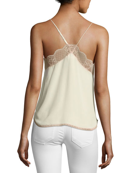 Christy Silk Lace Camisole Top, Ecru