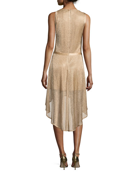 Rabelais Deluxe Sleeveless Metallic Dress, Beige