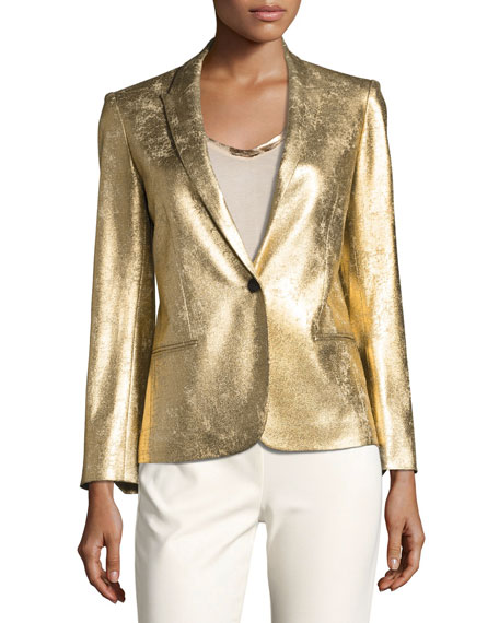 Vedy Deluxe Gold-Colored Fitted Blazer