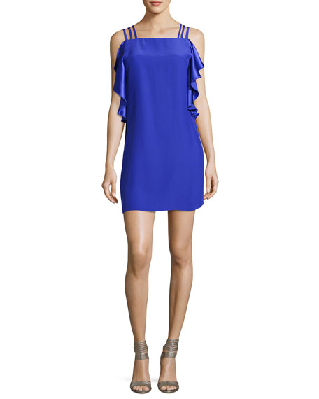 Azura Short Sleeveless Ruffle Dress, Blue