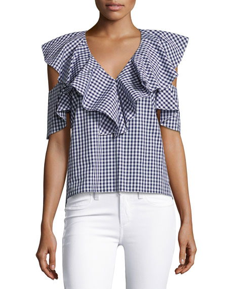 Amanda Uprichard Maddox V-Neck Gingham Top, Blue