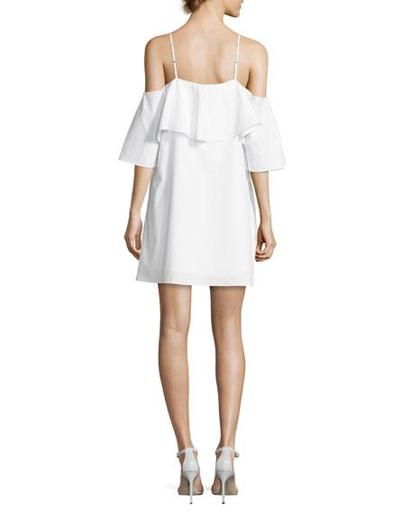 Marise Cold-Shoulder Ruffle Dress, White