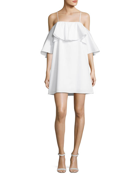 Amanda Uprichard Marise Cold-Shoulder Ruffle Dress, White