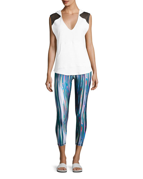 Batik Performance Capri Leggings, Blue