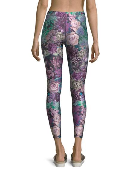 Purple Succulent Performance Capri Leggings