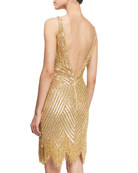 Sleeveless V-Neck Beaded Fringe Dress