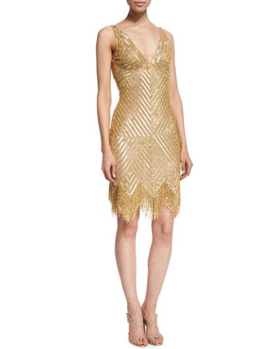 Sleeveless V-Neck Beaded Fringe Dress