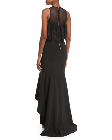 Sleeveless Stretch High-Low Gown, Black