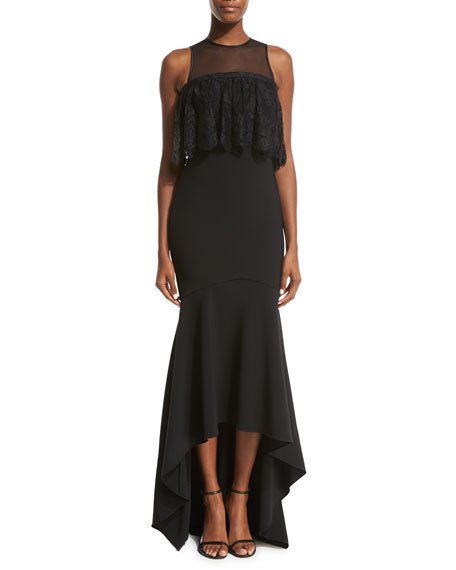 Theia Sleeveless Stretch High-Low Gown, Black
