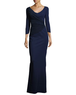 Eos 3/4-Sleeve Mesh Illusion Gown, Navy