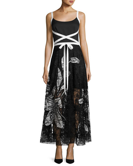 Balance Sleeveless Crepe & Lace Evening Gown, Jet