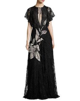 Aurora Floral Lace Gown, Jet
