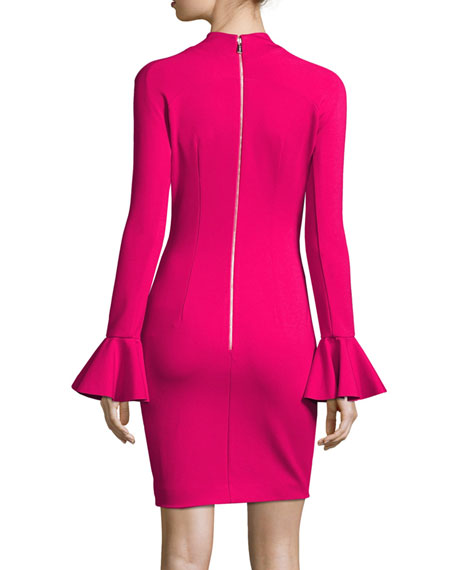 Long-Sleeve Ponte Cocktail Dress, Hot Pink