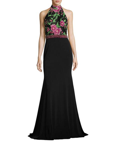 Jovani Sleeveless Floral Beaded Mermaid Gown, Black/Multicolor