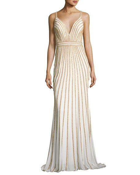 Sleeveless Beaded Evening Gown, White/Gold