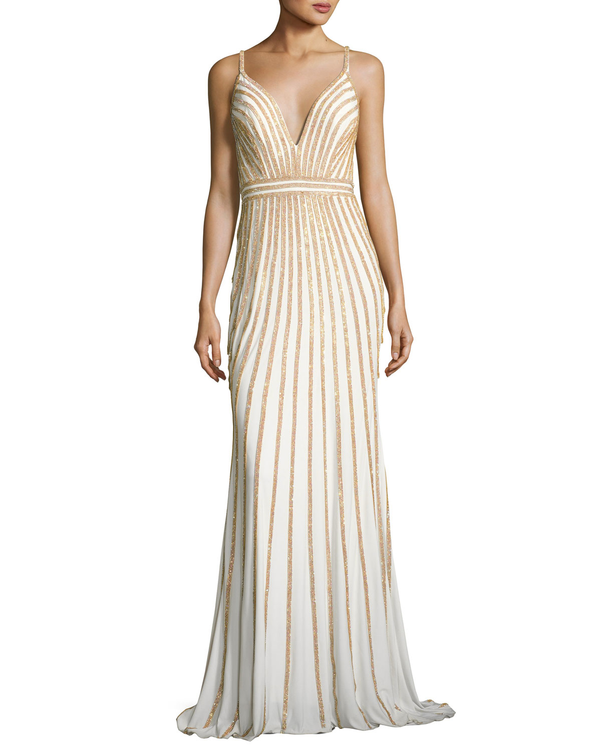 Jovani Sleeveless Beaded Evening Gown, White/Gold | Neiman Marcus