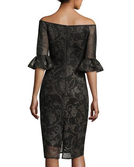 Off-the-Shoulder Printed Mesh Cocktail Dress, Black