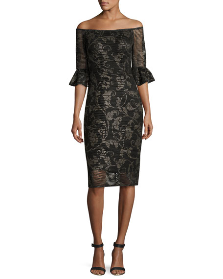 Jovani Off-the-Shoulder Printed Mesh Cocktail Dress, Black