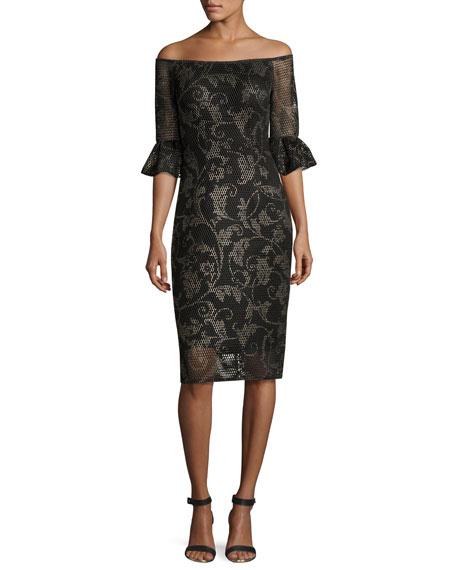 Jovani Off-the-Shoulder Printed Mesh Cocktail Dress, Black