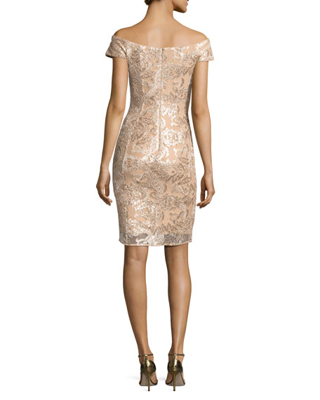 Off-the-Shoulder Embellished Lace Cocktail Dress, Champagne