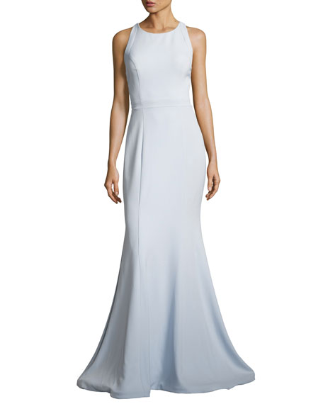 Jovani Sleeveless Stretch Crepe Cross-Back Mermaid Gown, Blue