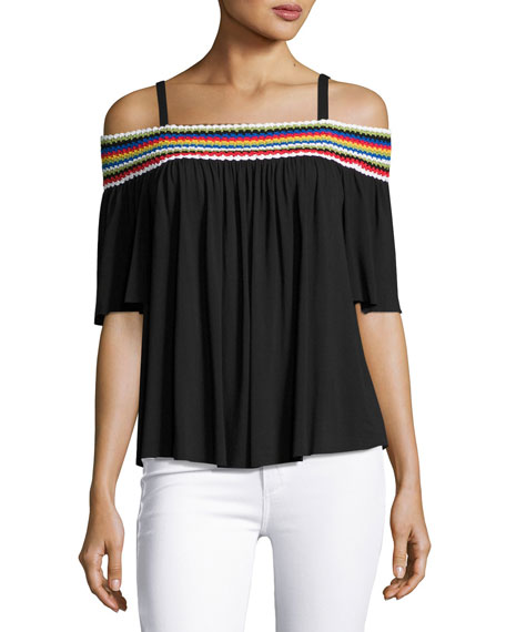Bailey 44 Guava Off-the-Shoulder Embroidered Top, Black