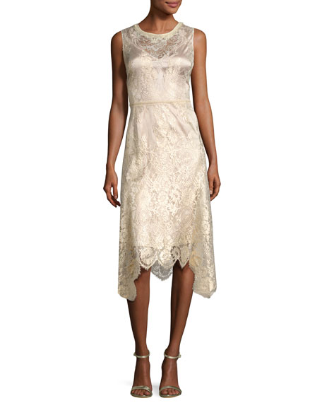 Sariyah Sleeveless Floral Lace Cocktail Dress, Gold