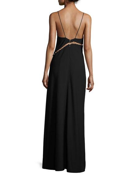 Marilyn Sleeveless Overlap Column Gown, Black