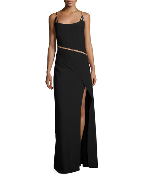 Marilyn Sleeveless Overlap Column Gown, Black