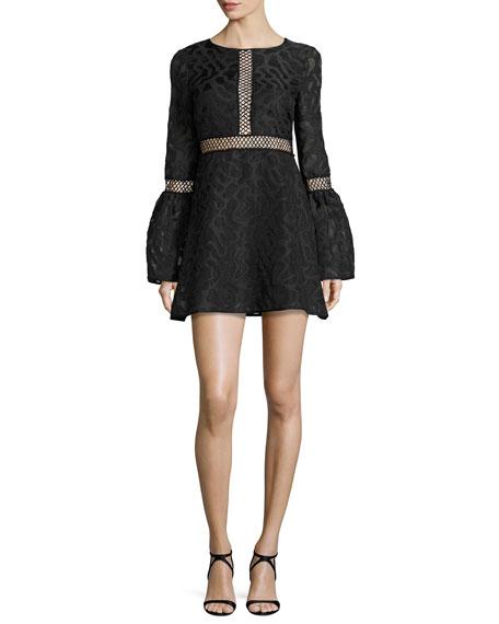 Zanya Long-Sleeve Jacquard Cocktail Dress, Black