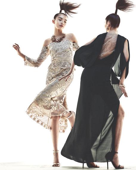 Lucinda Cold-Shoulder Ruffle Lace Sheath Dress, Black