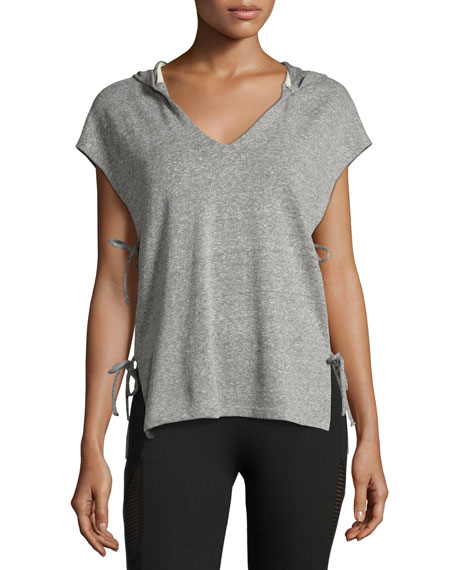 Side-Tie Hooded Vest, Gray