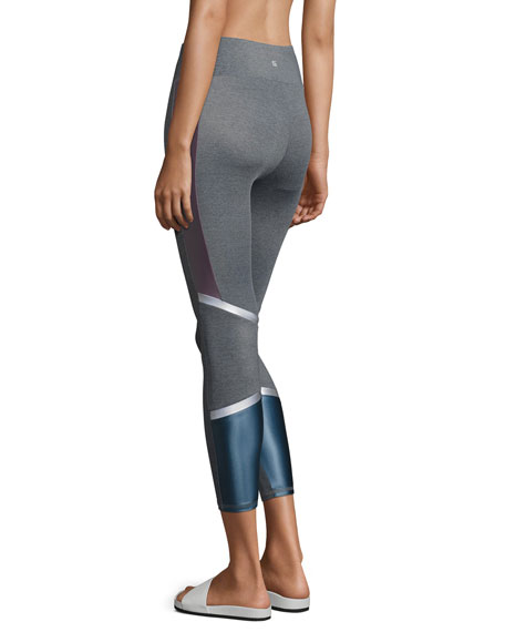 Lennox Combo Back-Panel Leggings, Purple/Blue
