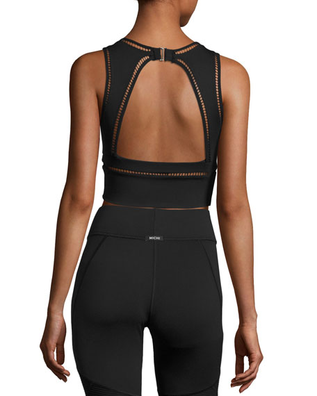 Plunge Open-Back Sport Crop Top, Black