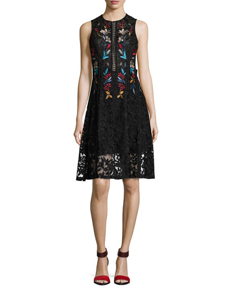 Sachin & Babi Dewdrop Sleeveless Floral Lace Cocktail