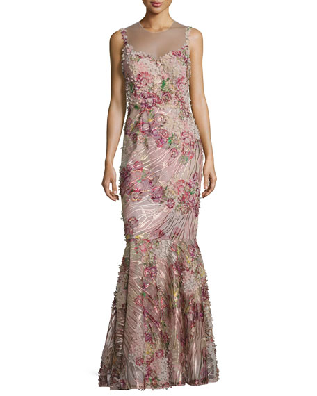 Sleeveless Floral Illusion Mermaid Gown, Red/Pink