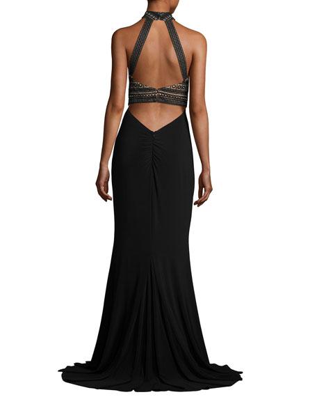 Sleeveless Crochet & Jersey Gown, Black