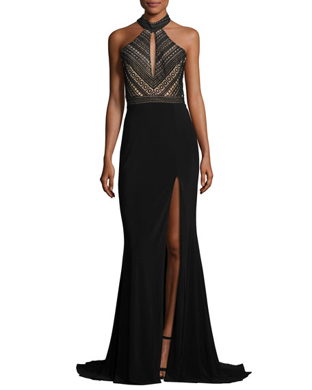 Faviana Sleeveless Crochet & Jersey Gown, Black